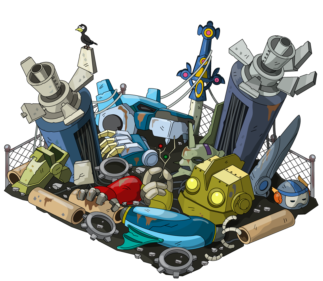 Community clipart urban. Giant robot junkyard family