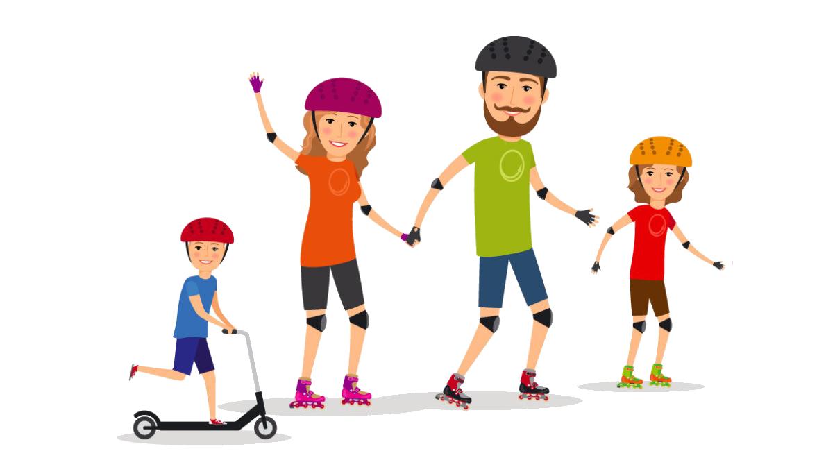 Sport family clip art. Families clipart roller skating