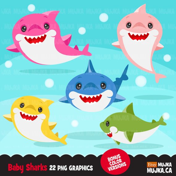 Clipart shark baby shark. Cute colorful graphics