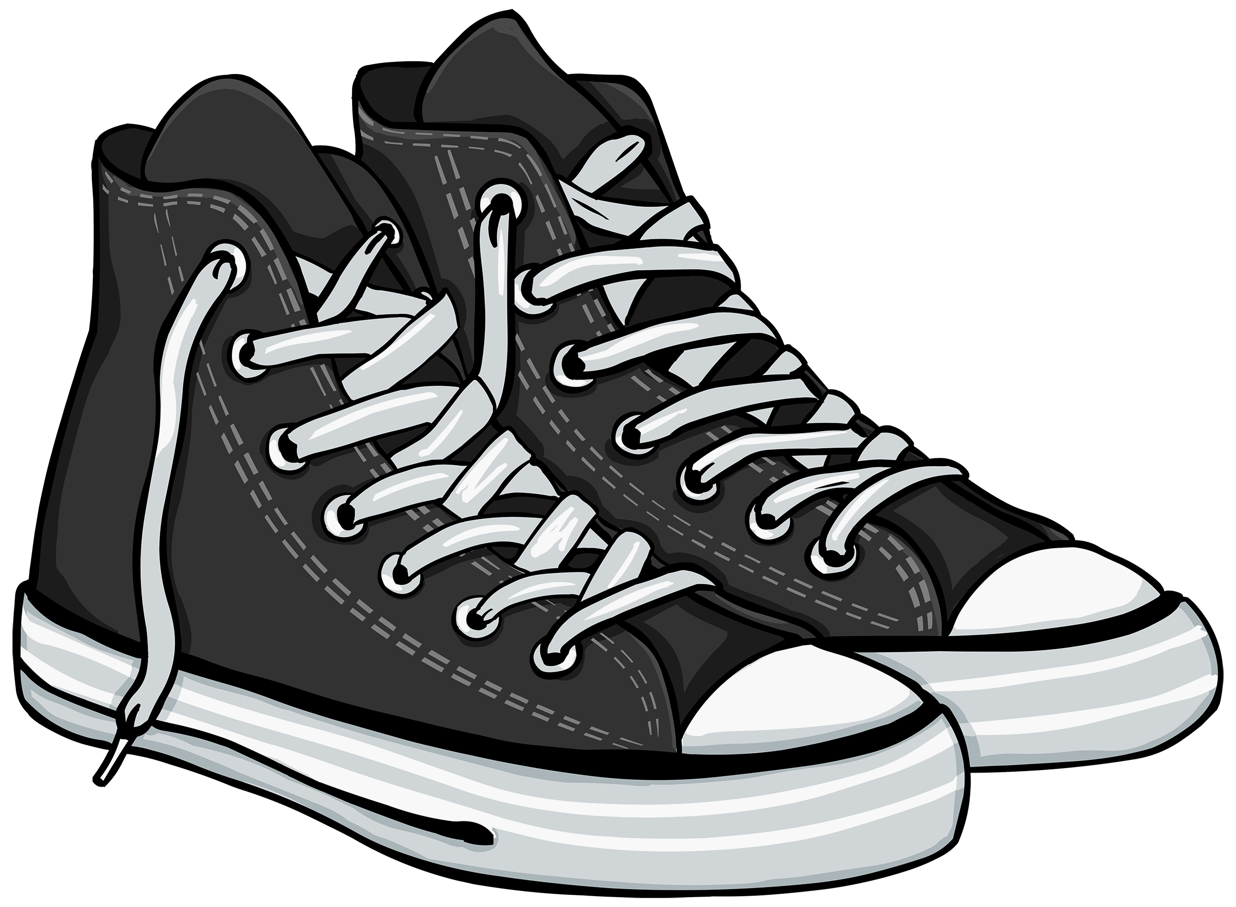 Tennis shoes black and. Clipart socks sort