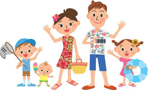 Clipart summer family. Vacation of the premium
