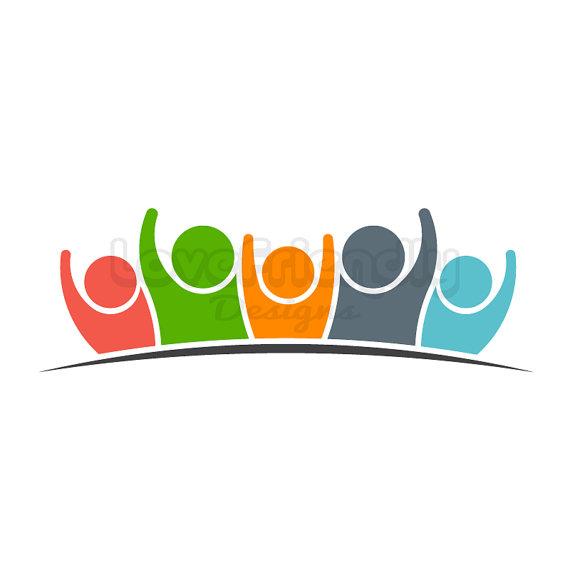 Team five people logo. Teamwork clipart group 4