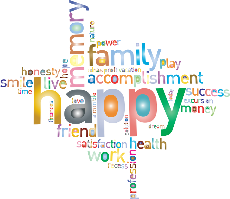 Prismatic happy family word. Words clipart dream