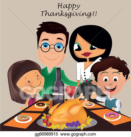 Clipart thanksgiving family. Eps vector in day