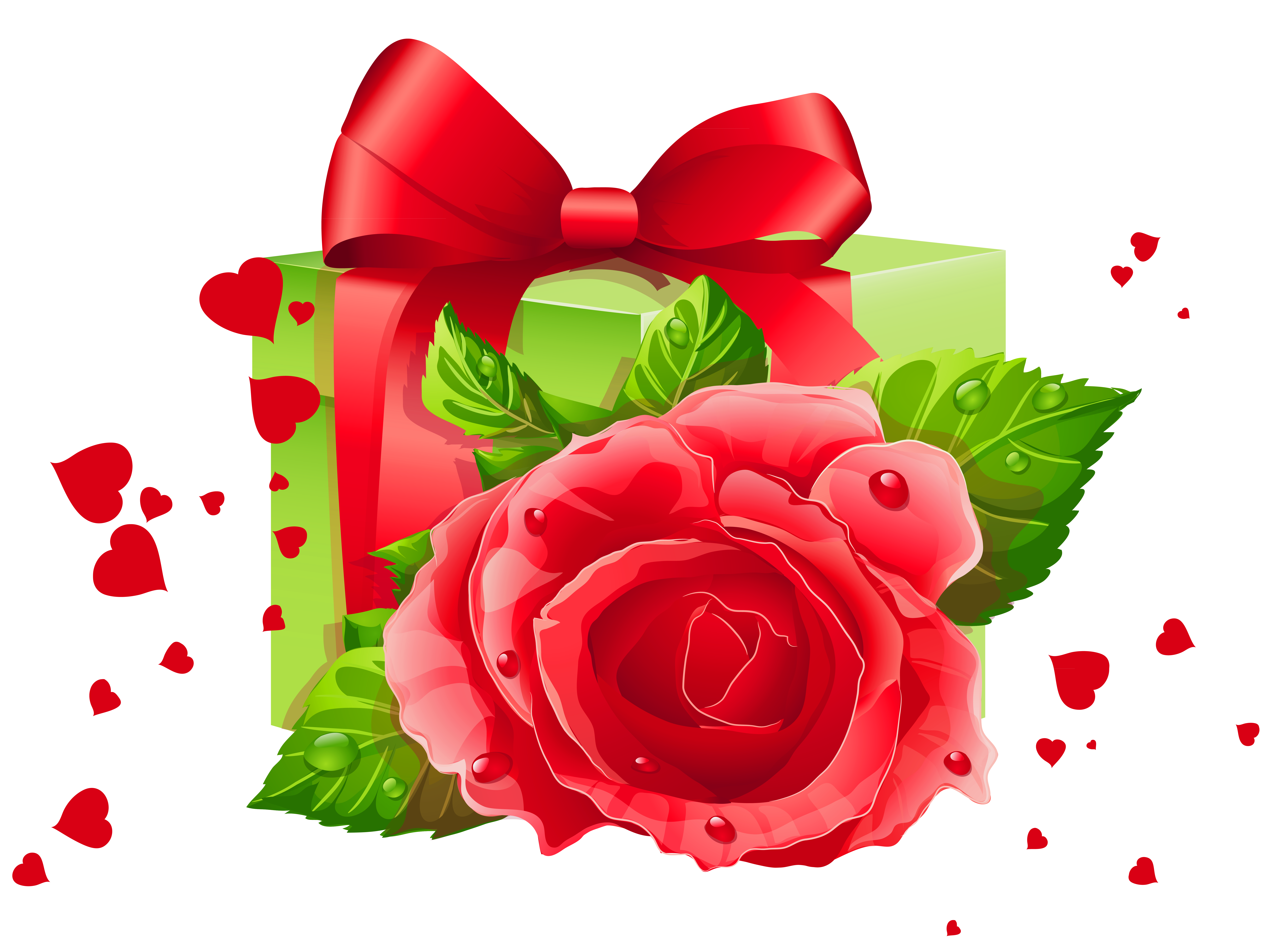 Transparent heart and gift. Clipart hearts garden
