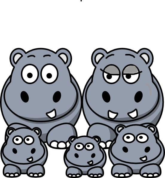 Family clip art at. Mask clipart hippo