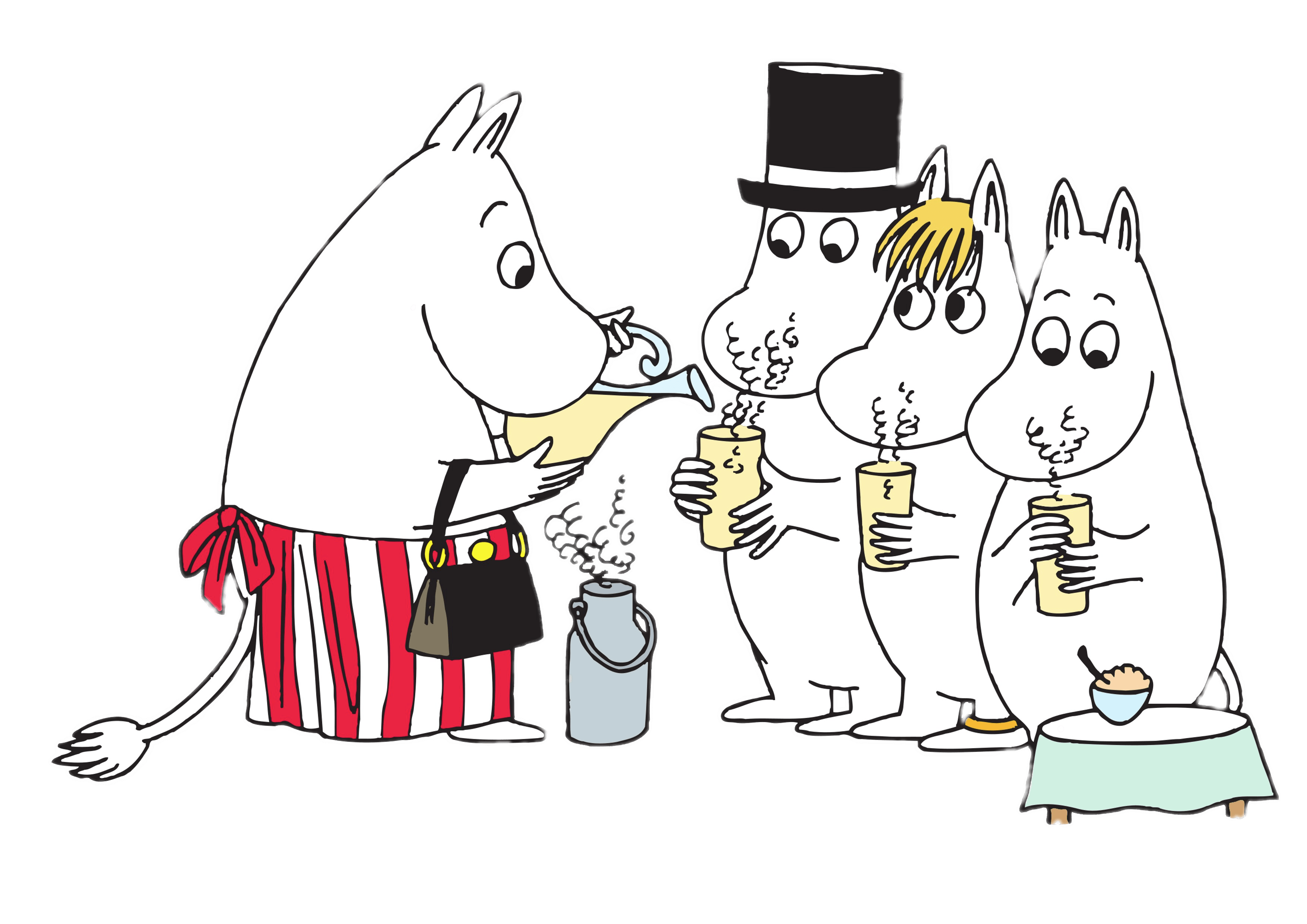 Moomin family walking transparent. Drinking clipart line
