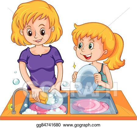 Eps illustration girl helping. Clipart mom washing