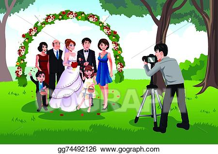 Vector man photographing a. Clipart wedding family