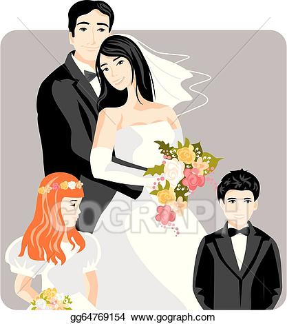 Vector stock illustration gg. Clipart wedding family