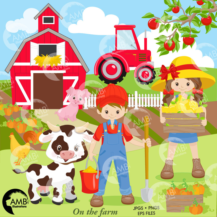 Farm clipart. Boy and girl farmers