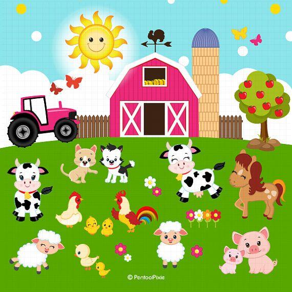 Farm animals farmer girls. Barn clipart farmyard
