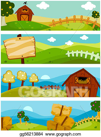 Nature clipart banner. Stock illustration farm banners