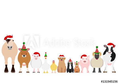 Clipart farm christmas. Animals border set buy