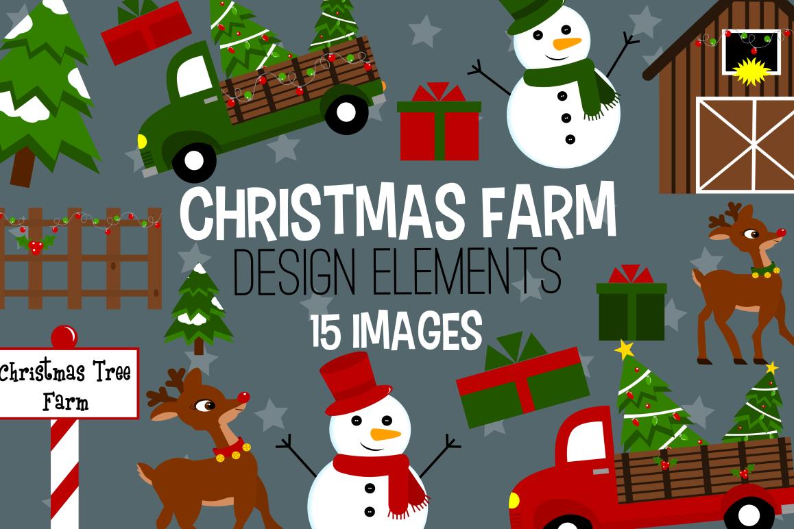 Graphics illustrations . Clipart farm christmas