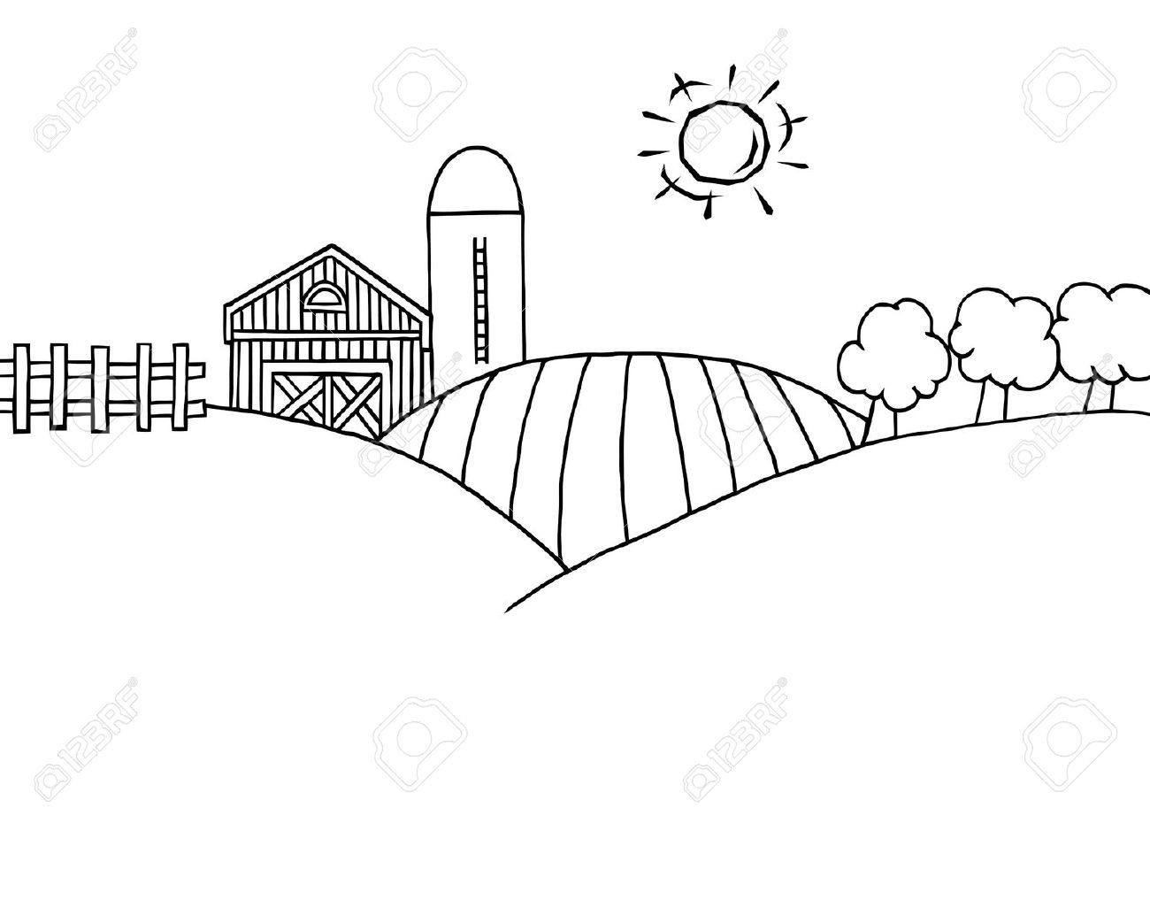Stock vector crafts pages. Farm clipart coloring page