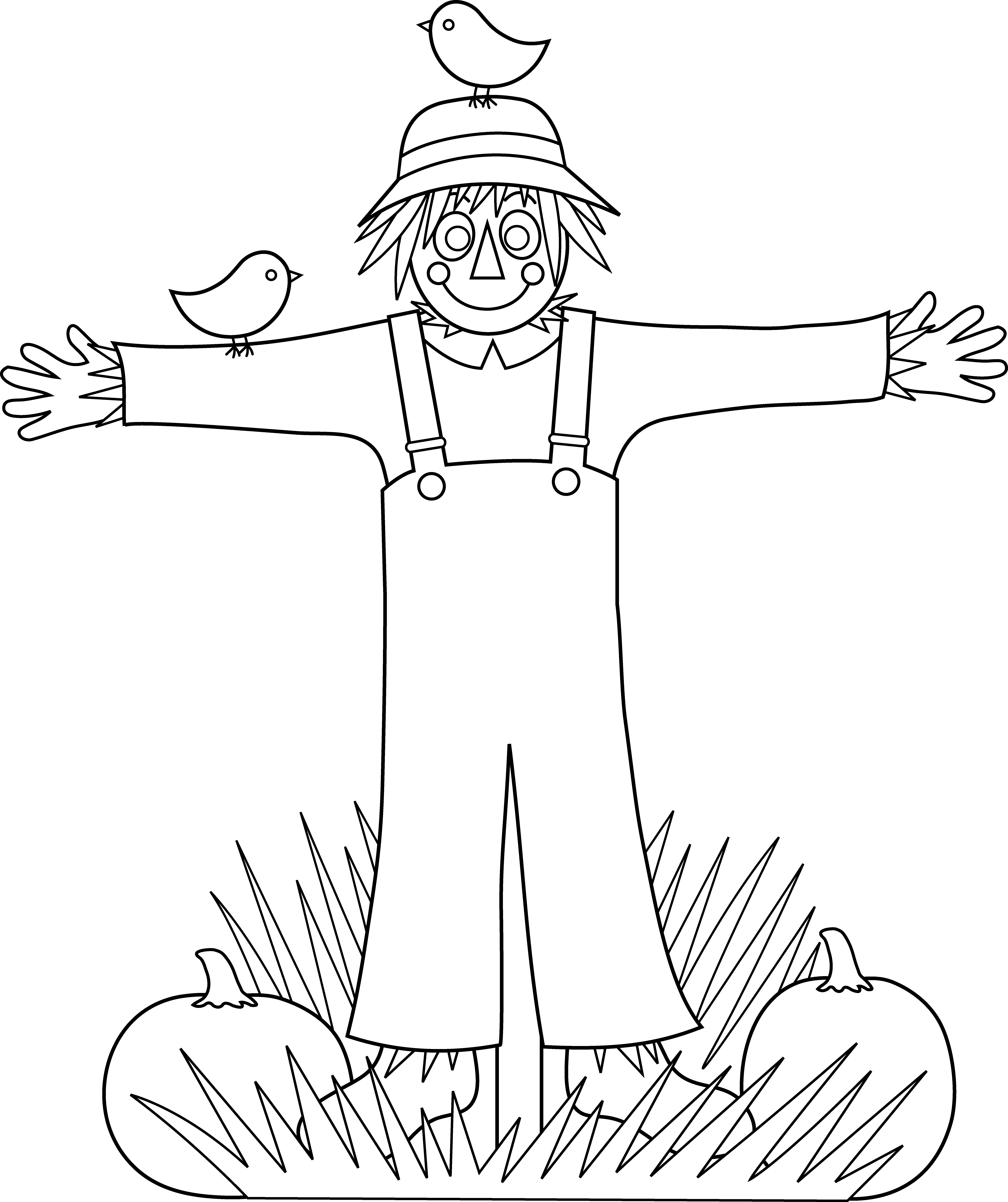 Farm clipart coloring page. Cute scarecrow free clip