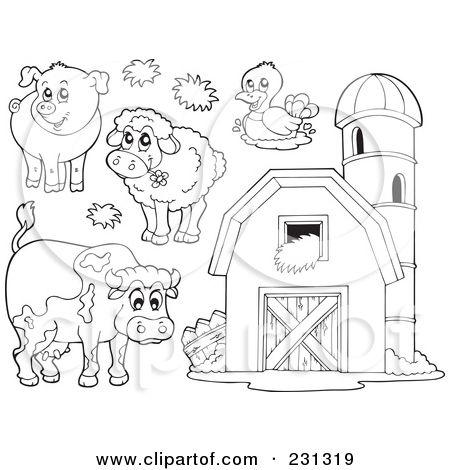 Farm clipart coloring page. Royalty free rf illustration