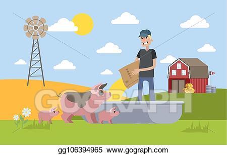 Farmers clipart farm life. Vector art smiling male