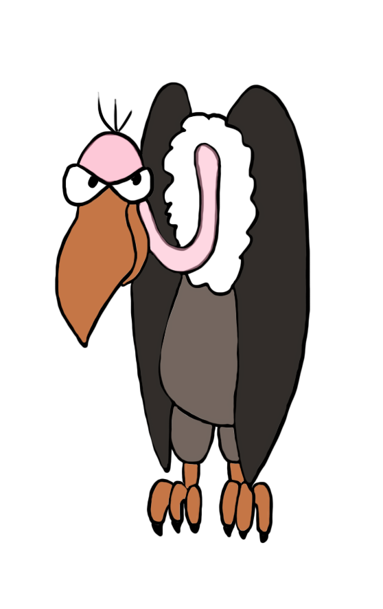 Hand clipart marionette. Vulture drawing in color