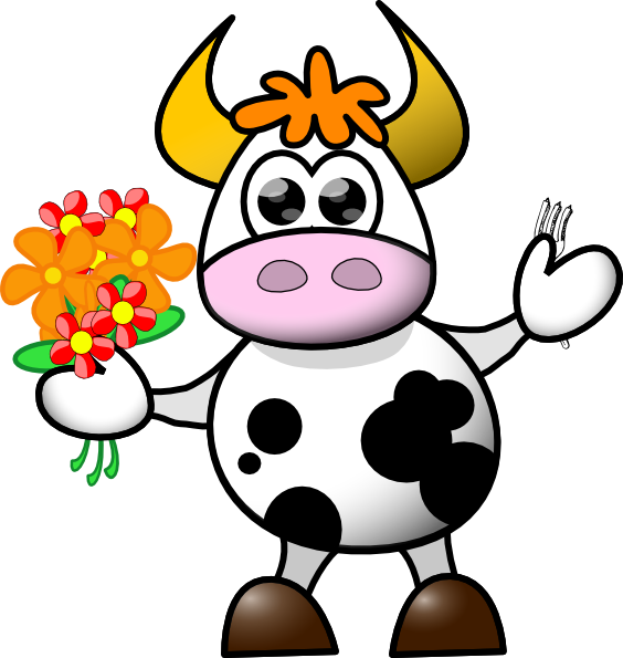Farm clipart fork. Cow with flowers and
