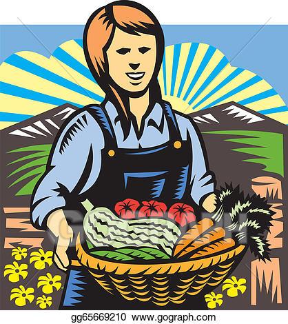 Vector art organic farmer. Harvest clipart crop production