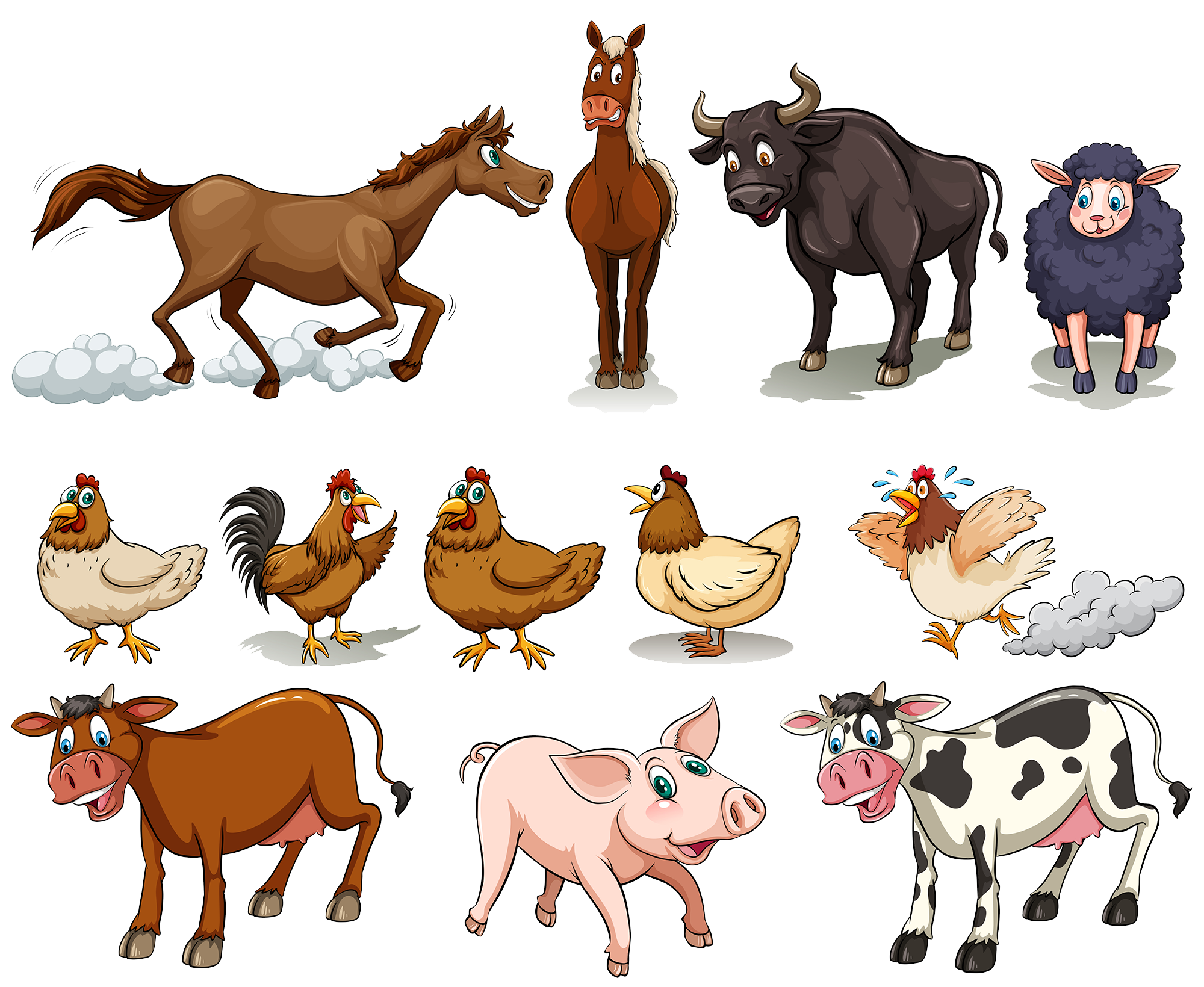 Cattle chicken sheep pig. Clipart horse domestic animal