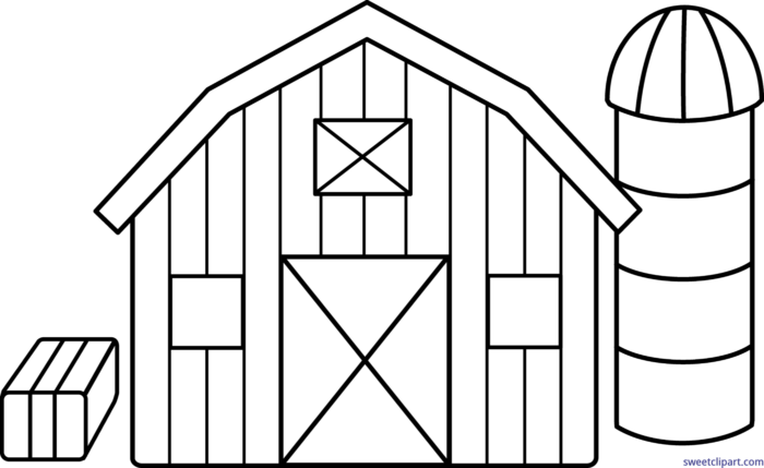 Clipart farm line art. Barn lineart clip sweet