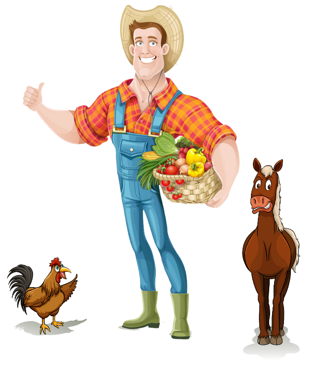 Farmers clipart man. Farmer farm rooster horse