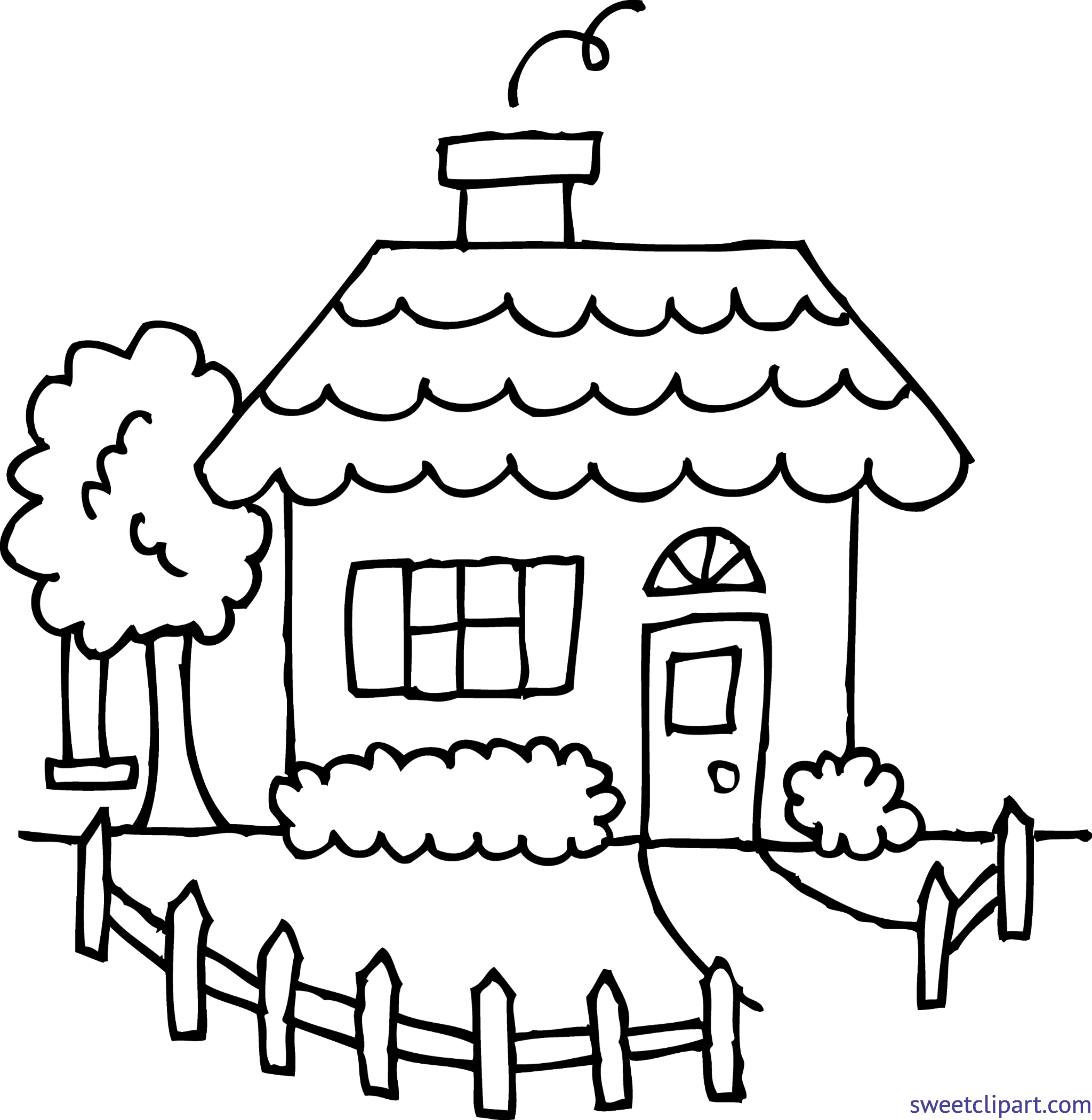 Sunny clipart drawn. House line drawing clip