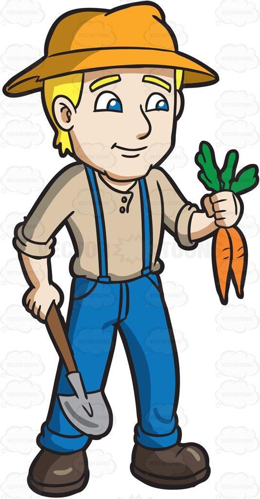 Farmers clipart community helper. A farmer harvesting carrots