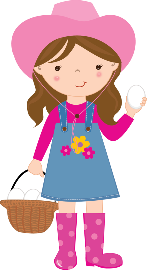 Cute farm for clip. Girls clipart animated