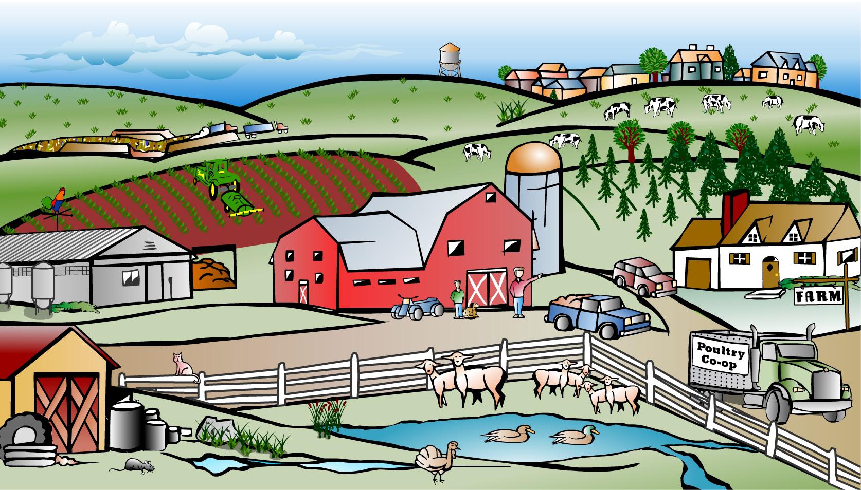 Farming clipart farm town. Free scene cliparts download