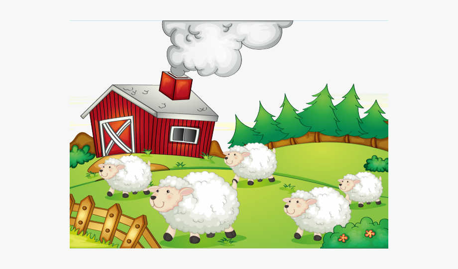 Rural pastoral farming in. Clipart sheep barnyard