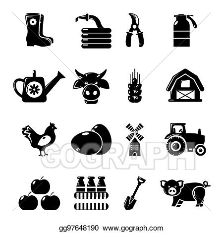 Stock illustration agricultural icons. Farm clipart simple