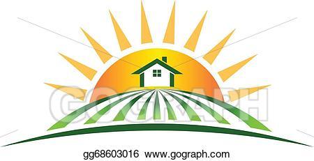 Vector house with logo. Farm clipart sun