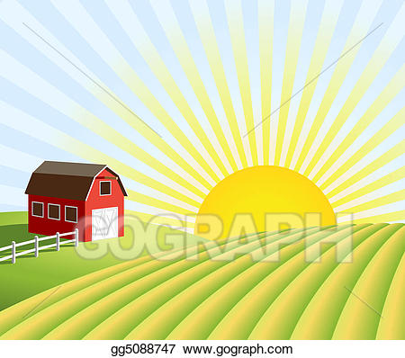 Farming clipart field. Stock illustrations farm and