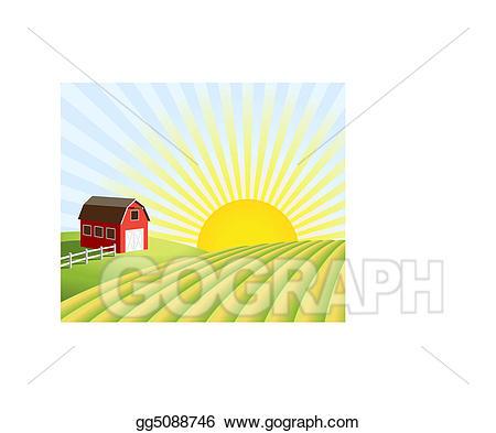 Clipart farm sunrise. Eps vector and fields