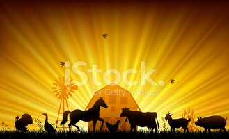 farm clipart sunset