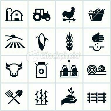 Farming and agricultural symbols. Farm clipart symbol