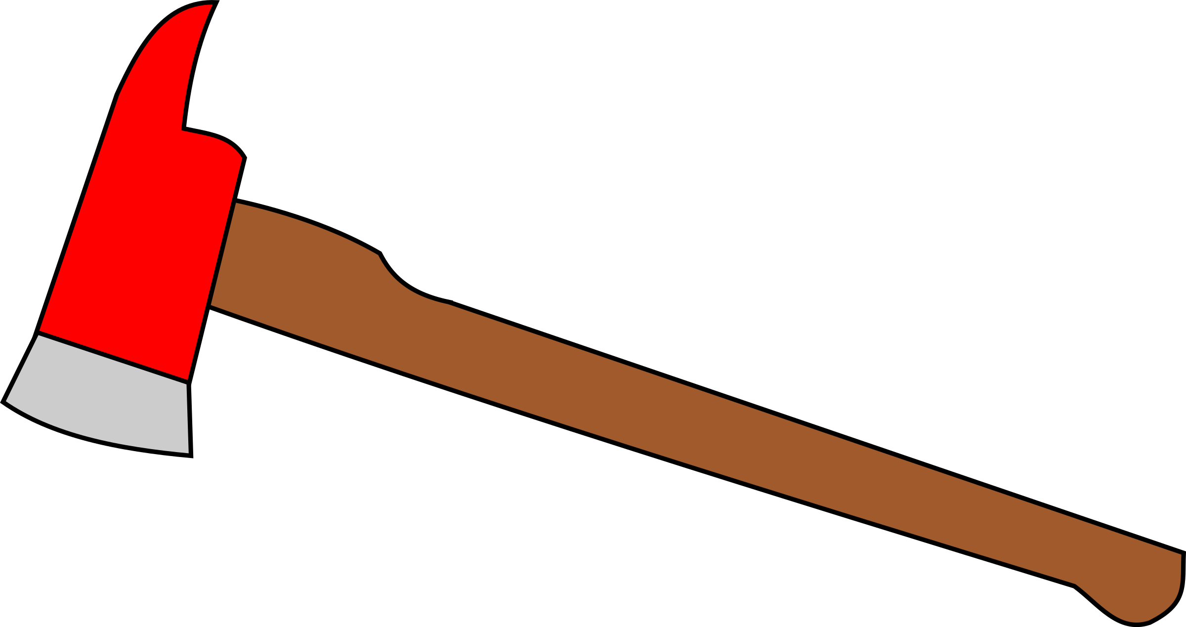 Pencil and in color. Clipart fire axe