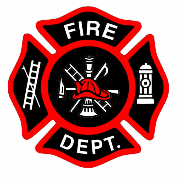 Fire clipart badge. Fireman bage new red