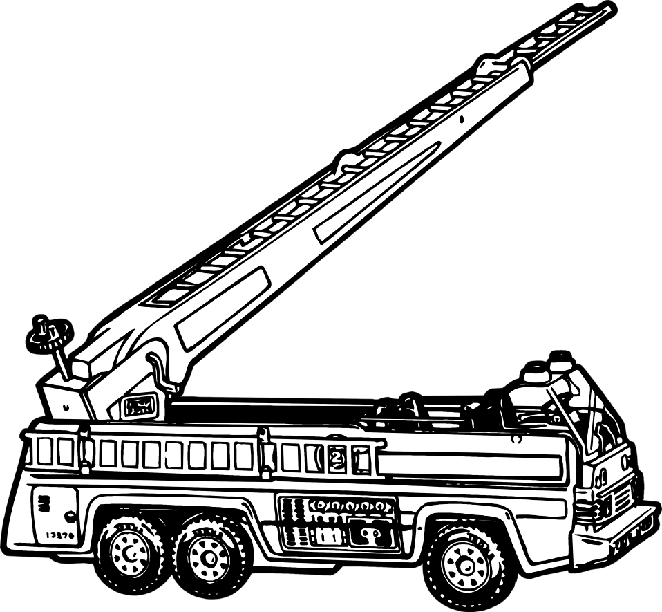 Firetruck free stock photo. Fireman clipart black and white