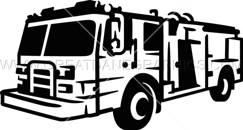 Truck production ready artwork. Clipart fire black and white
