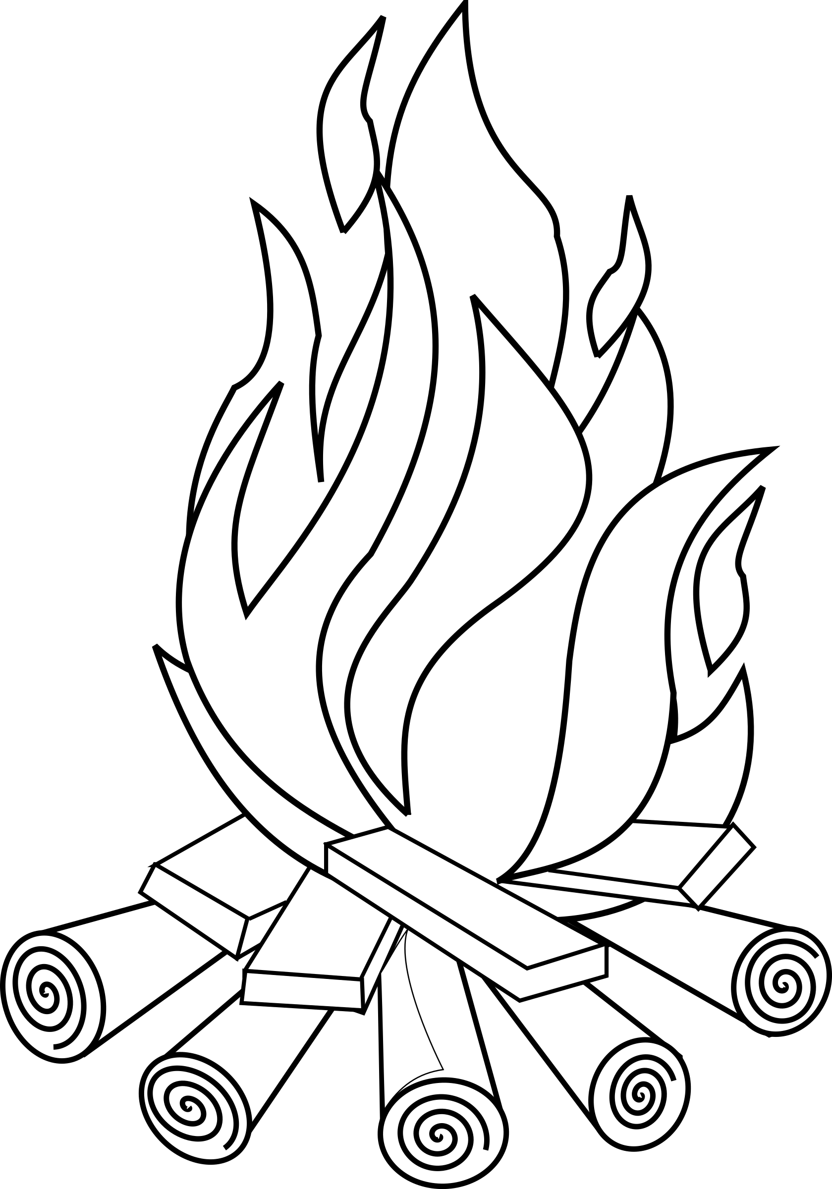 Clipart fire black and white. Line art