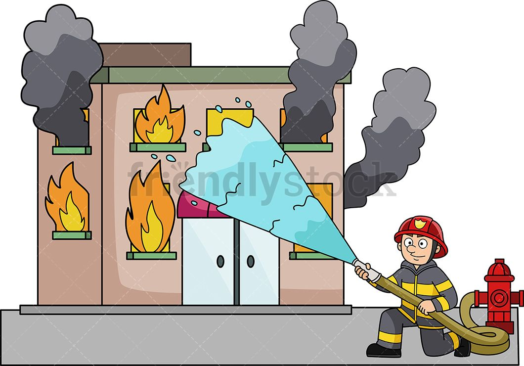 Firefighter clipart building. Throwing water at a