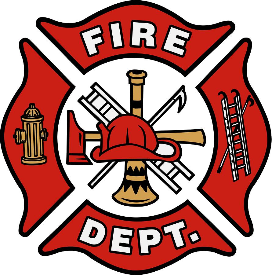 Bush fire department home. Firefighter clipart symbol