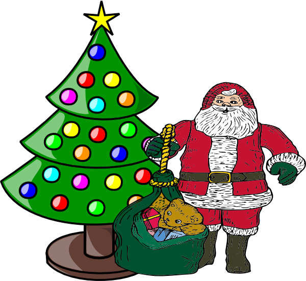 Christmas with santa claus. Tree clipart narra