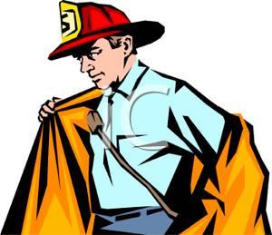 Fireman clipart coat. A firefighter putting on