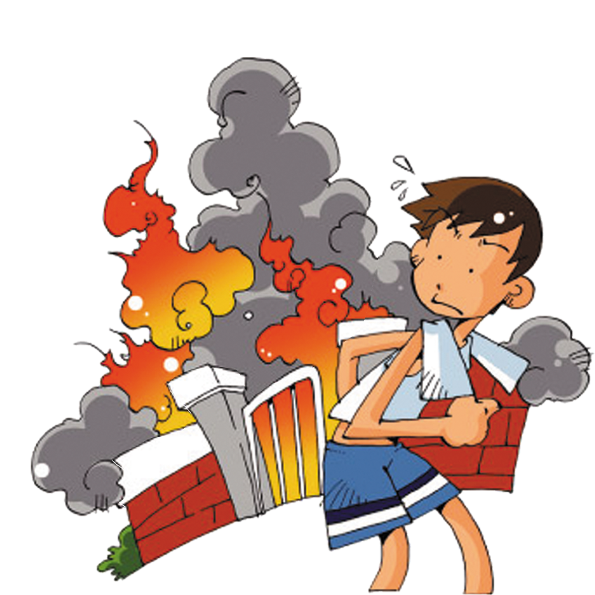 Clipart fire conflagration. Cartoon beware of transprent